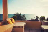 Sea view from balcony of home or hotel room — Stock Photo