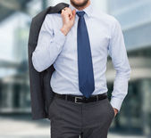 Close up of businessman standing outdoors — Stock Photo