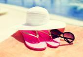 Detailní záběr letního příslušenství — Stock fotografie