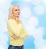 Happy smiling woman dreaming — Stock Photo