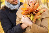 Close up of smiling couple hugging in autumn park — Stock Photo