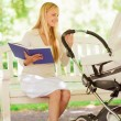 Happy mother with book and stroller in park — Stock Photo #53413805