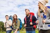 Groupe d'amis souriants avec sacs à dos de randonnée — Photo