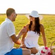 Smiling couple with small red gift box on picnic — Stock Photo #53853305