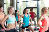 Group of women working out with steppers in gym — Stock Photo