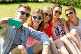 улыбающихся друзей с смартфон, сидя на траве — Стоковое фото