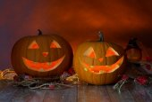 Close up of pumpkins on table — Stock Photo