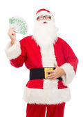 Man in costume of santa claus with euro money — Stock fotografie