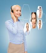 Smiling woman helpline operator — Stock Photo