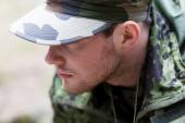 Close up of young soldier in military uniform — Photo