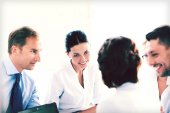 Businesswoman with team on meeting in office — Stock Photo