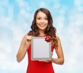 Uśmiechający się z komputera typu tablet — Zdjęcie stockowe