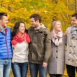 Group of smiling men and women in autumn park — Stock Photo #57321451