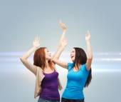 Smiling teenage girls having fun — Stock Photo