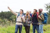 Group of friends with backpacks taking selfie — Stock Photo