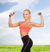 Usmívající se krásná sportovní žena s činkami — Stock fotografie