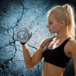 Young sporty woman with heavy steel dumbbell — Foto de Stock   #57864181
