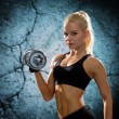 Young sporty woman with heavy steel dumbbell — Stockfoto #57864211