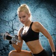 Young sporty woman with heavy steel dumbbell — Foto de Stock   #57864247