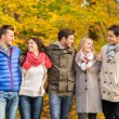 Group of smiling men and women in autumn park — Stock Photo #57864919