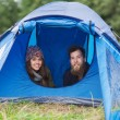 Smiling couple of tourists looking out from tent — Stock Photo #58118669