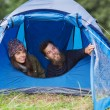 Smiling couple of tourists looking out from tent — Stock Photo #58118691