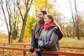 Couple souriant étreindre sur le pont dans le parc automne — Photo