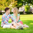 Smiling couple sitting on grass in park — Stock Photo #58307791