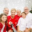 Smiling family making selfie at home — Stock Photo #58380063