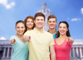 Group of smiling teenagers showing ok sign — Stock Photo