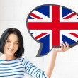 Smiling woman with text bubble of british flag — Stock Photo #58480539