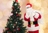 Santa claus with bag and christmas tree — Stock Photo