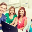 Group of smiling students having discussion — Stock Photo #59478403