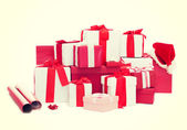 Christmas presents and decoration — Stock Photo