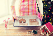 Closeup of woman with gingerbread house on pan — Stock fotografie