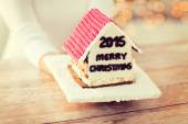 Close up of woman showing gingerbread house — Stockfoto