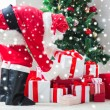 Man in costume of santa claus with presents — Stock Photo #60137051