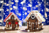 Closeup of beautiful gingerbread houses at home — Stock Photo