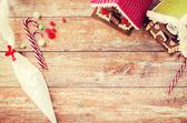 Closeup of beautiful gingerbread houses at home — Stock fotografie