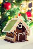 Closeup of beautiful gingerbread house at home — Stok fotoğraf