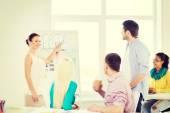Interior designers having meeting in office — Stok fotoğraf