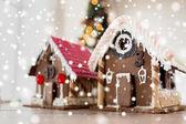 Closeup of beautiful gingerbread houses at home — Stok fotoğraf