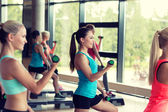 Group of women with dumbbells and steppers — Foto de Stock