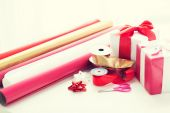 Close up of christmas presents — Stockfoto