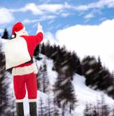 Man in costume of santa claus with bag — Foto de Stock