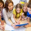 Group of kids with teacher and tablet pc at school — Stock Photo #60625499