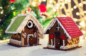 Closeup of beautiful gingerbread house at home — Stock Photo