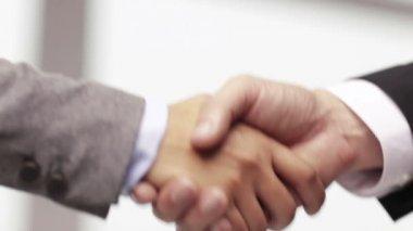 Geschäftsmann und geschäftsfrau hände schütteln — Stockvideo