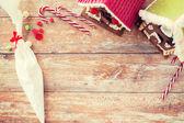 Closeup of beautiful gingerbread houses at home — Stockfoto