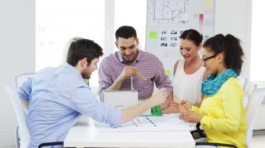 Group of smiling architects working in office — Video Stock